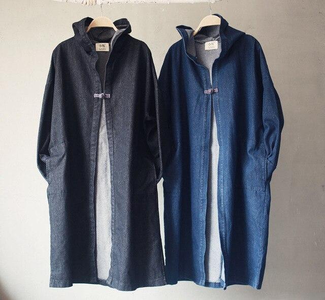 2016 Женщин Джинсовой Пальто Одной Кнопки Ручной Китайский Кнопка С Капюшоном Пальто Пальто И Пиджаки Повседневная Осень-Весна