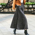 Winter Women Maxi Skirt Fashion Long Womens Clothing Elegant A-Line Skirt High Waist Woolen Skirts Womens Solid Saia Longa C1552