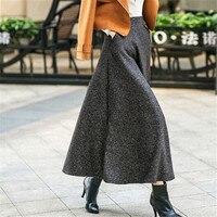 Winter Women Maxi Skirt Fashion Long Womens Clothing Elegant A Line Skirt High Waist Woolen Skirts Womens Solid Saia Longa C1552