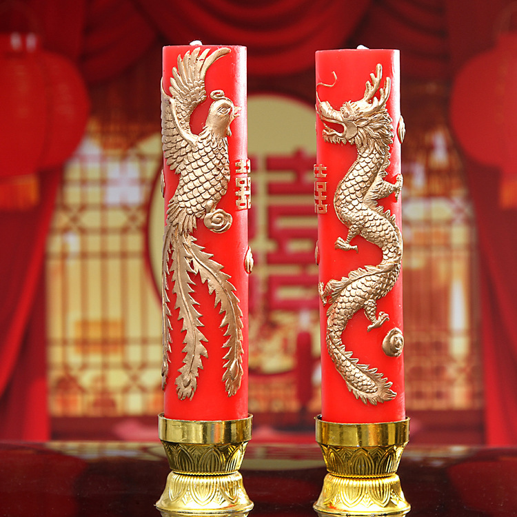 Red Wedding Candles With Dragon And Phoenix On Them In From Home Garden Aliexpress Alibaba Group