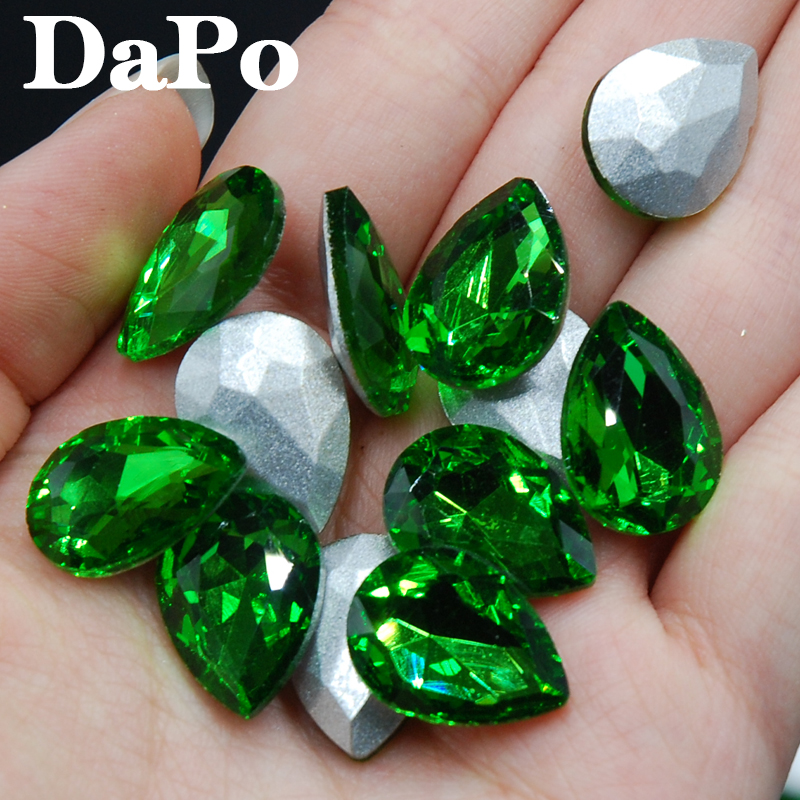 2017 New Emerald Color Point Back Teardrop Shape Glass Crystal Fancy Stone  Rhinestones For Jewelry Clothes Bags 4x6mm~20x30mm-in Rhinestones from Home  ... 3a1518760124