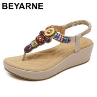 BEYARNE Platform Sandals National Style Women Sandals Bohemia Flats Beaded Size Foreign Trade Shoes Summer Shoes