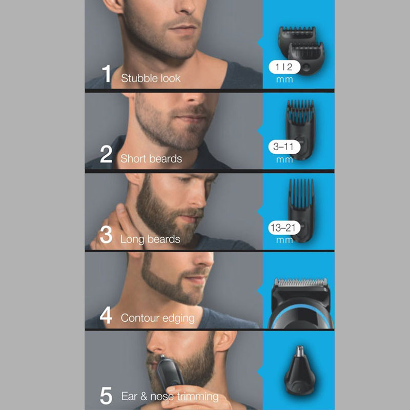 Image 4 - Braun Mens Beard Hair Trimmer MGK3020 6 in 1 Multi Grooming Kit Electric Shaver Hair Ear Nose Head Trimming 4 Combs 13 Length-in Hair Trimmers from Home Appliances