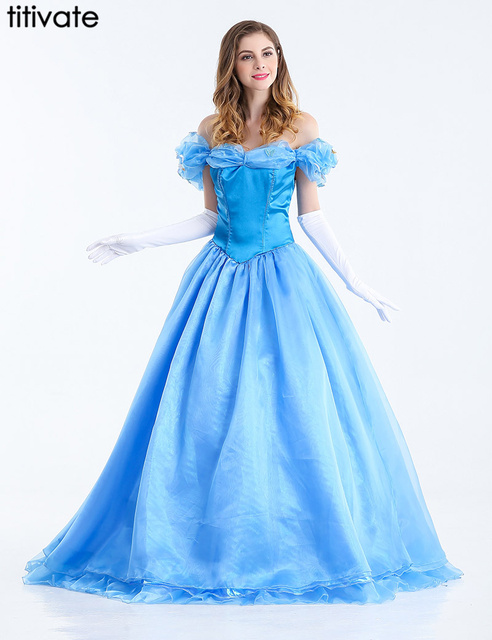 TITIVATE New Women Movie Cosplay Costume Formal Party Princess Dress Cinderella Costume Blue Cinderella Dress Ball Gown M,L,XL