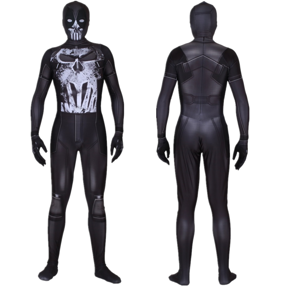 New Deadpool Black Skull Wade Winston Wilson Adult Spandex Lycra Cosplay Costume Zentai Bodysuit Suit Jumpsuits Customized