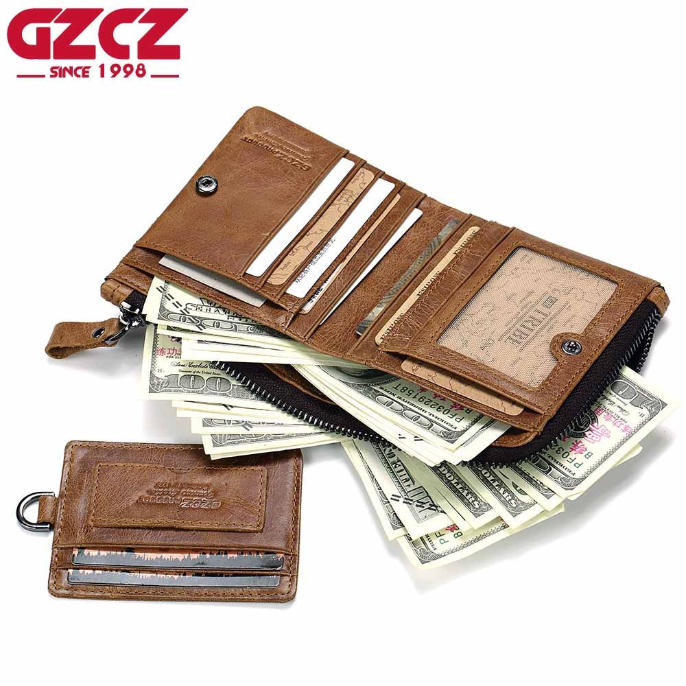 GZCZ Men Wallets Coin-Bags Removable Card--Id-Holders Bifold Genuine-Leather Short