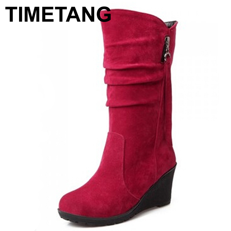 TIMETANG Big size high quality new arrival women mid calf female wedges boots red color slip