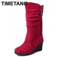TIMETANG tamaño Grande de alta calidad de la nueva llegada mujeres mitad de la pantorrilla mujer cuñas botas resbalón en cuero de LA PU de color rojo otoño Primavera botas