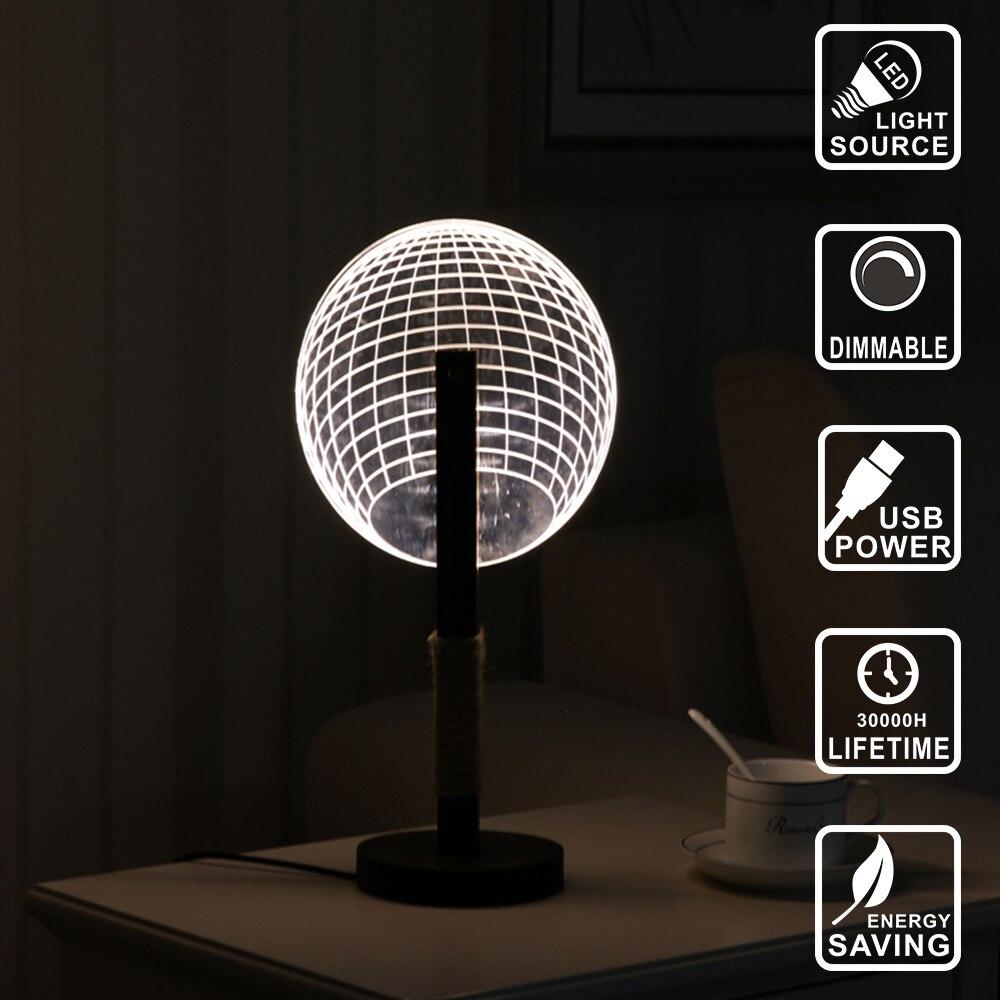 Usb Table Lamp Nightlight 3d Lamp Acrylic Wood Nightlight