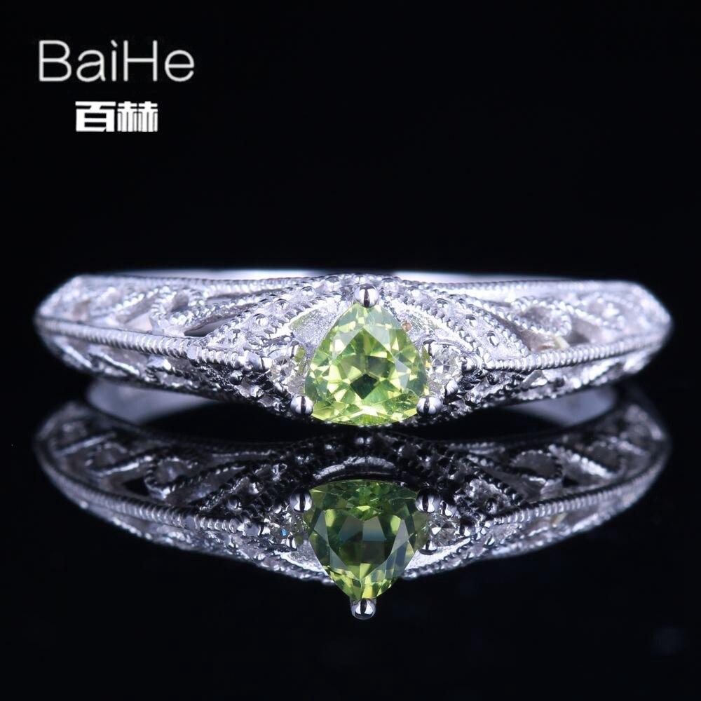 BAIHE стерлингового серебра 925 0.26CT сертифицированных безупречный трлн 100% подлинные Перидот Юбилей Для женщин Винтаж Fine Jewelry Кольцо