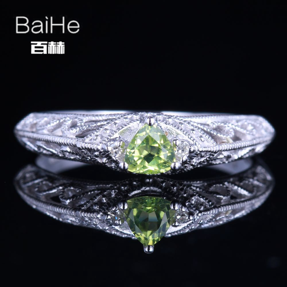 BAIHE Sterling Silver 925 0.26CT Certified Flawless Trillion 100% Genuine Peridot Anniversary Women Vintage Fine Jewelry Ring