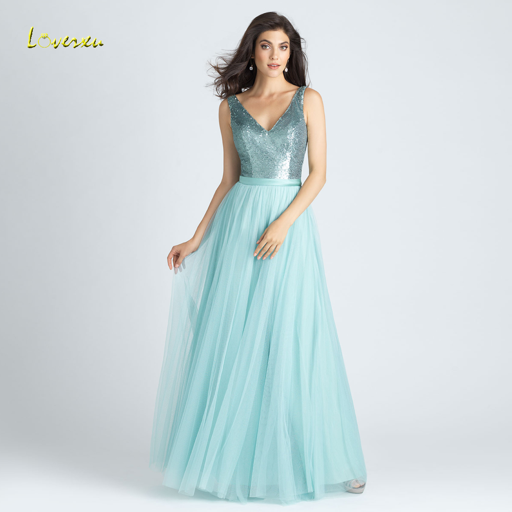 Loverxu Vestido De Festa Longo V Neck Green   Bridesmaid     Dresses   2018 Sexy Backless Floor Length A Line Wedding Party   Dress