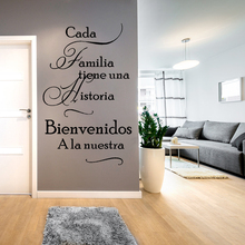 Spanish Home Quotes Wall Decal Cada Familia Tiene Una Historia WELCOME to Ours Vinyl Stickers Decor Living Room W629