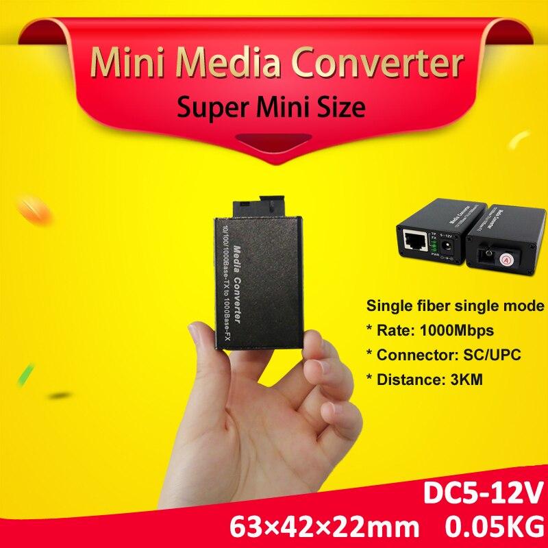 Bliy 1 pair gigabit fibra optical to rj45 UTP mini media converter 3km 1310 1550 fiber