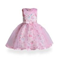 Baby Girls Pink Dress Kids Evening Ice Cream Print Dress Children Princess Dress For Party And