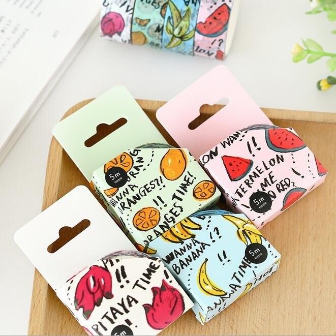 9ad3d19f8 Venta al por mayor estudio de papelería 5 m. Kawaii de la promoción novedad  fruta washi papel adhesivo cinta. Herramientas DIY students. funny Gift. o