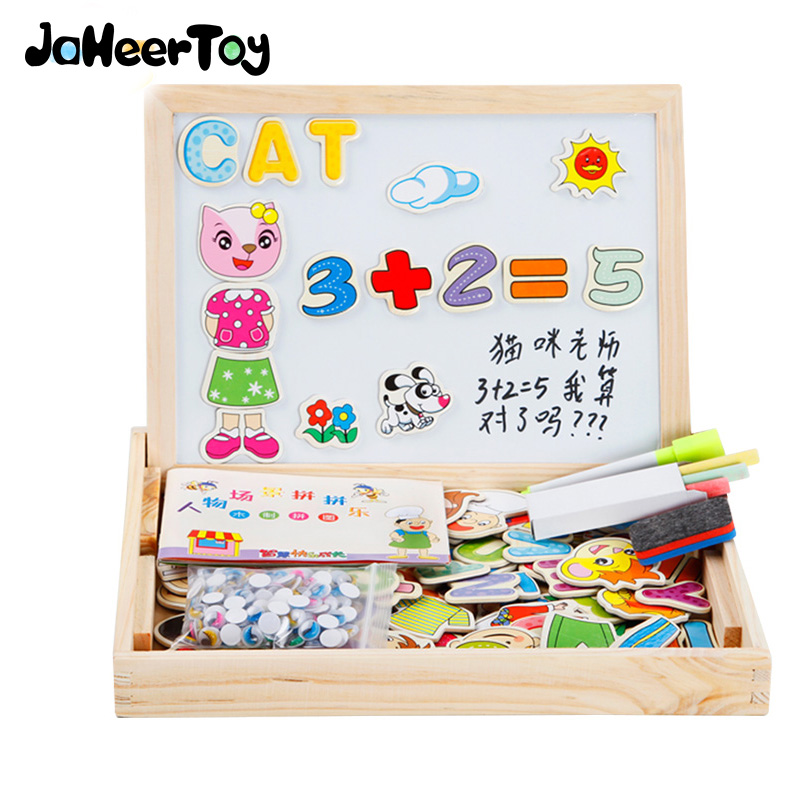 JaheerToy Baby Toys Montessori Educational Toy Dress Changing Dressing Jigsaw Puzzle Magnet Figure Alphabet Wood цена