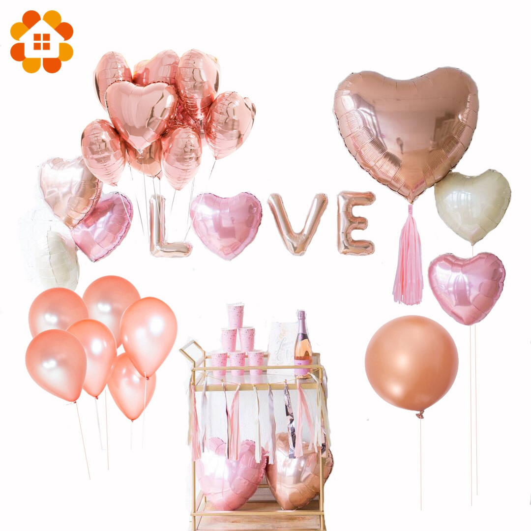 DIY House Rose Gold Star Balloons Foil Champagne Heart Balloon Wedding Party Decor Latex Ballons for Birthday Decorations
