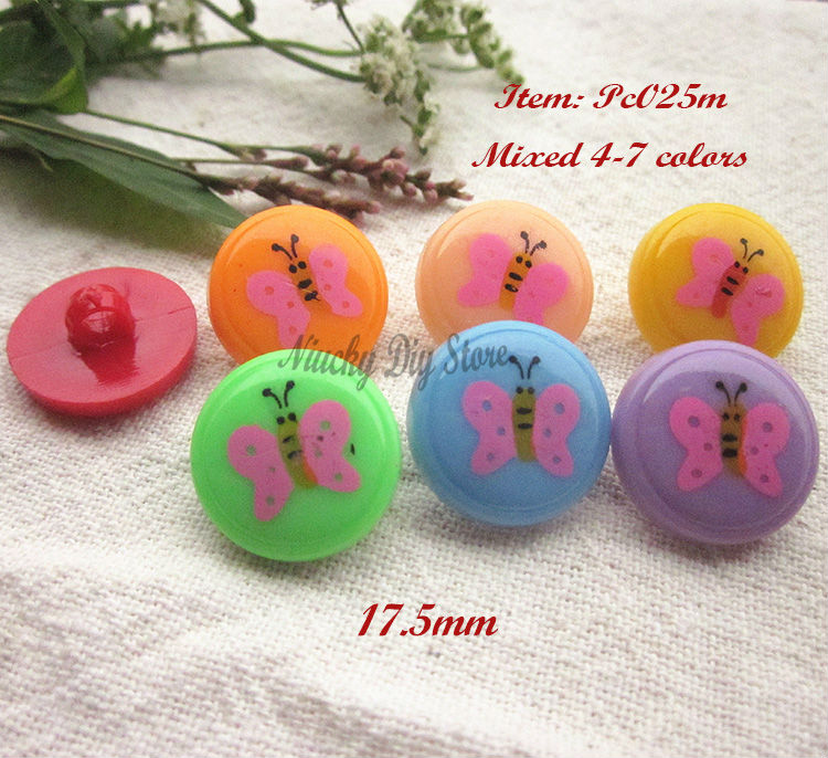 120pcs/lot Child buttons mixed color butterfly buttons for Diy and sewing supplies and accessories set wholesale ...