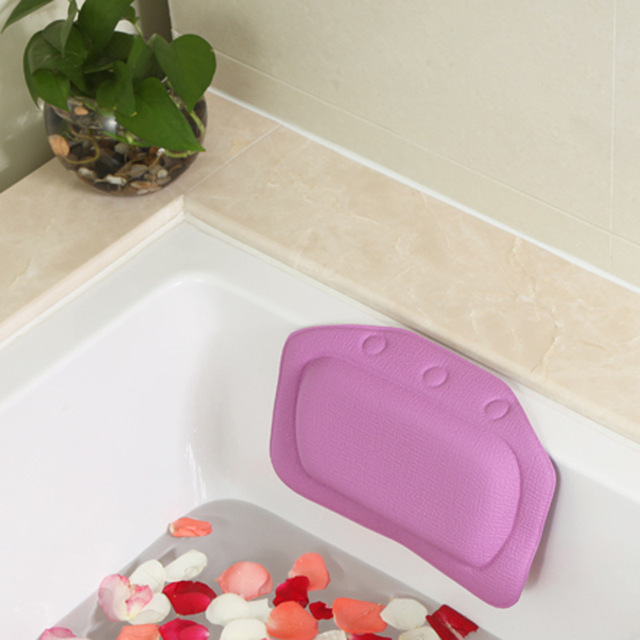 4 Colors Bathroom Supplies waterproof bathtub spa bath pillow with suction cups Head Neck Rest Home & Garden pillows