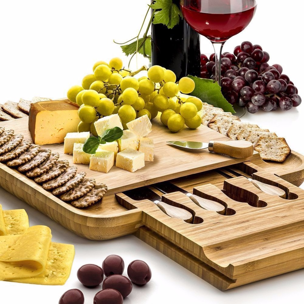 Bamboo Cheese Board With Cutlery Wood Charcuterie Platter
