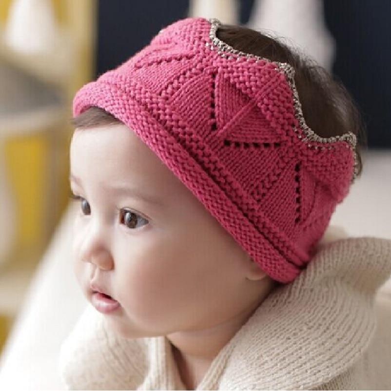 Naturalwell Child Knit Crown Hat Headband Soft crochet crown hat Little Boys girls head Accessory Photo Prop Gold Pink HB569 hot winter beanie knit crochet ski hat plicate baggy oversized slouch unisex cap
