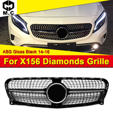 X156 GLA Sport Diamonds grille ABS Black Fits For MercedesMB GLA180 CLA200 GLA220 GLA250 GLA45 look grills Without Sign 2017-in