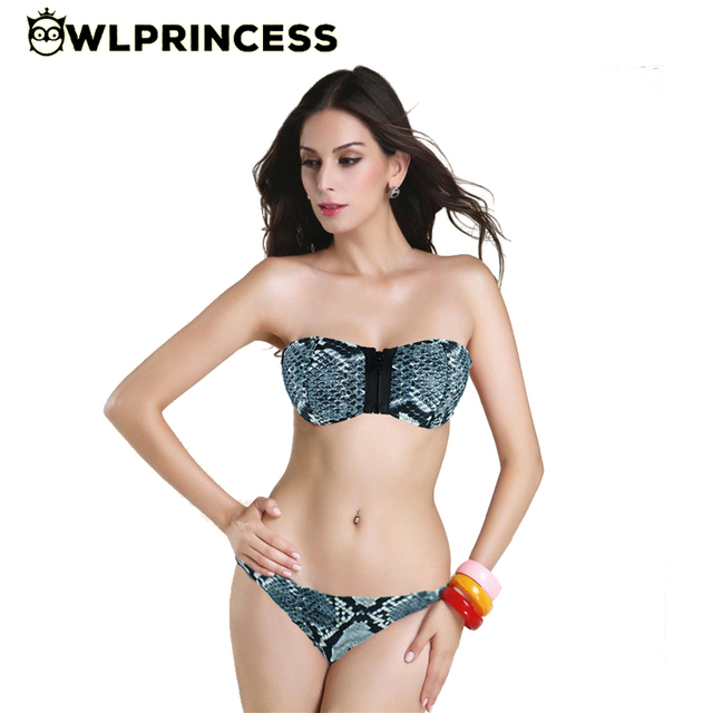00ed81bf1 Owlprincess Lepard Sexy DOT Print Strapless Bikinis Triángulo Cremallera  Sujetador Underwire Trajes De Baño Bikini Brasileño