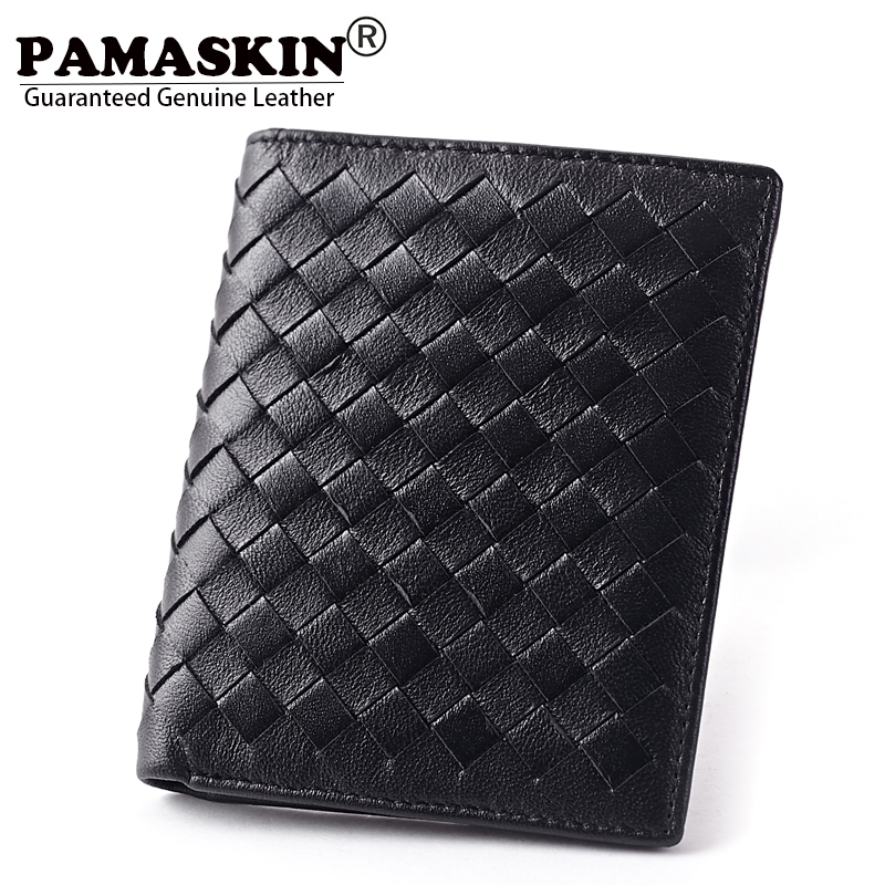 Guaranteed Premium 100 Sheepskin Leather Ultra Thin Men Wallets Fashion 2017 New Long Business Knitting Hot