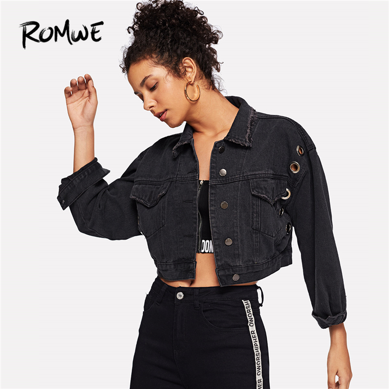 ROMWE Black Crop Top Jacket Women Denim Ring Detail Dual Pocket Jackets Ladies Fall Jeans Jackets Womens Clothing Outerwear
