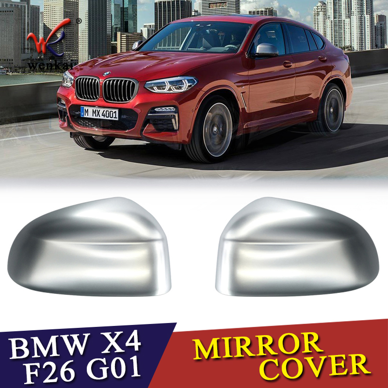 ABS Matte Chrome Side Wing Door Mirror Cover Caps Primed For BMW X3 F25 G01 X4