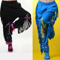 2014 New fashion brand Women Trousers wear sweatpants patchwork ds costume female knitted tassel loose harem Hip hop dance pants