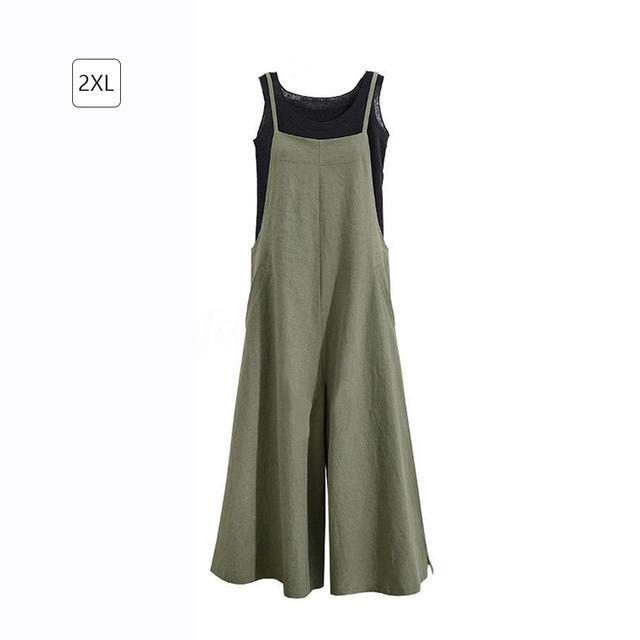2019 New Summer Women Casual Solid Wide Belt Leg Pants Pockets Romper Bib Overalls Jumpsuit Loose Cotton Linen Overalls