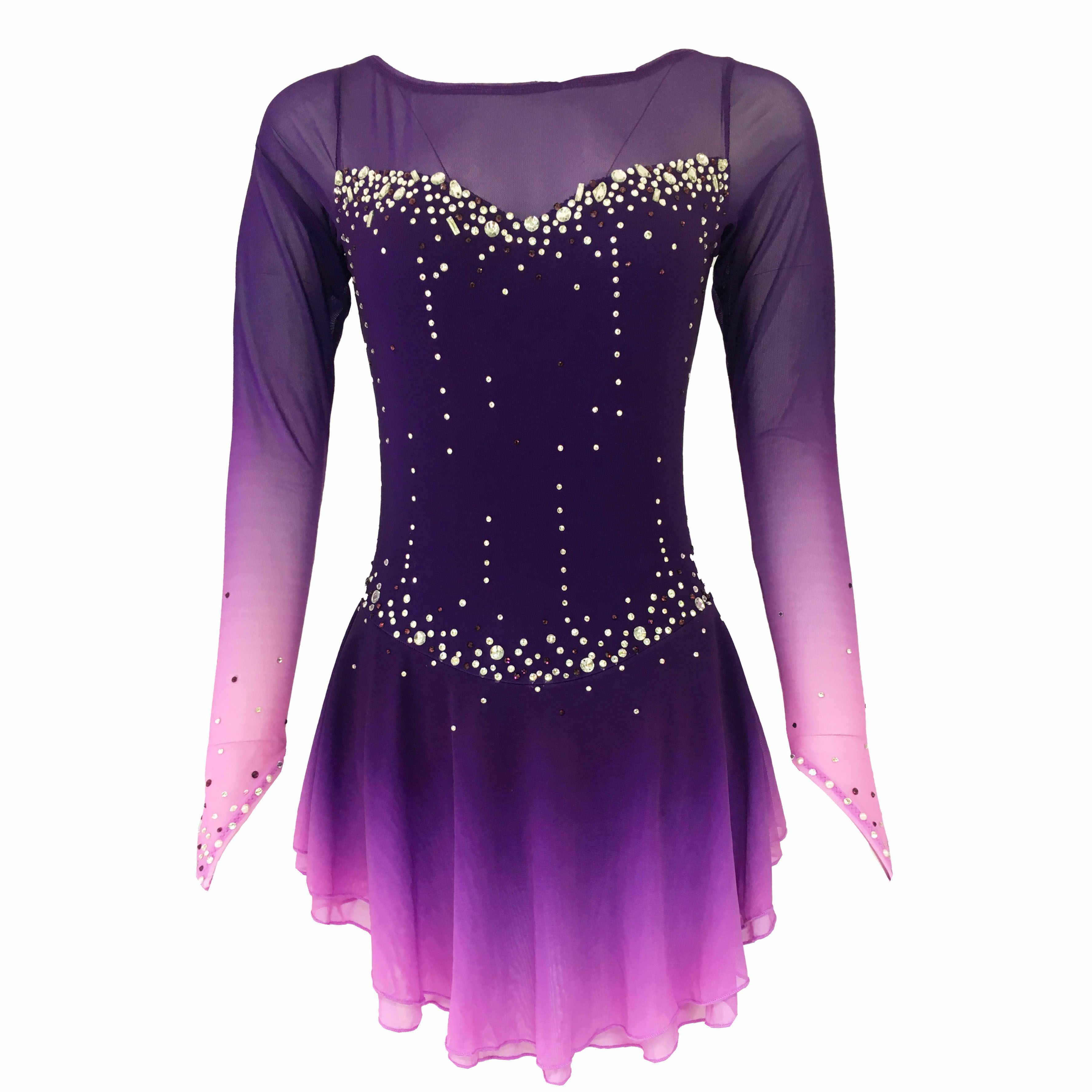 Фиолетовое платье для фигурного катания на коньках рукава ледяные юбки для конькобежцев с длинными рукавами юбка из спандекса платья для соревнований