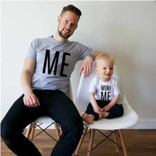 MVUPP family look matching clothes mini me print cotton t-shirt daddy and me son clothing father baby boy tops fathers day gifts
