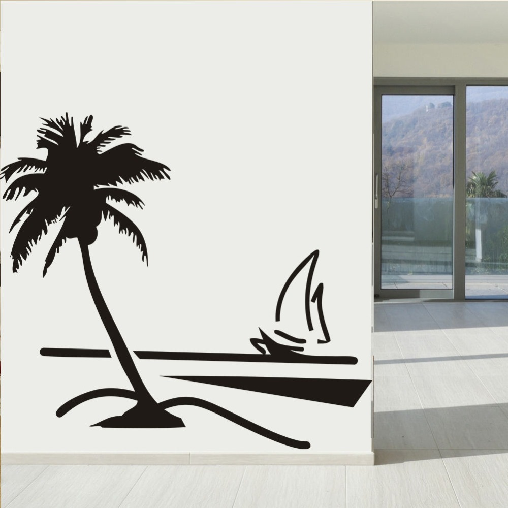 89x78cm Large Vinyl Paper Wall Stickers Home Decor Decal Coconut Palm Tree  Sailboat Decals Art Decoratooom Room Wall Mural A 80 In Wall Stickers From  Home ... Part 56