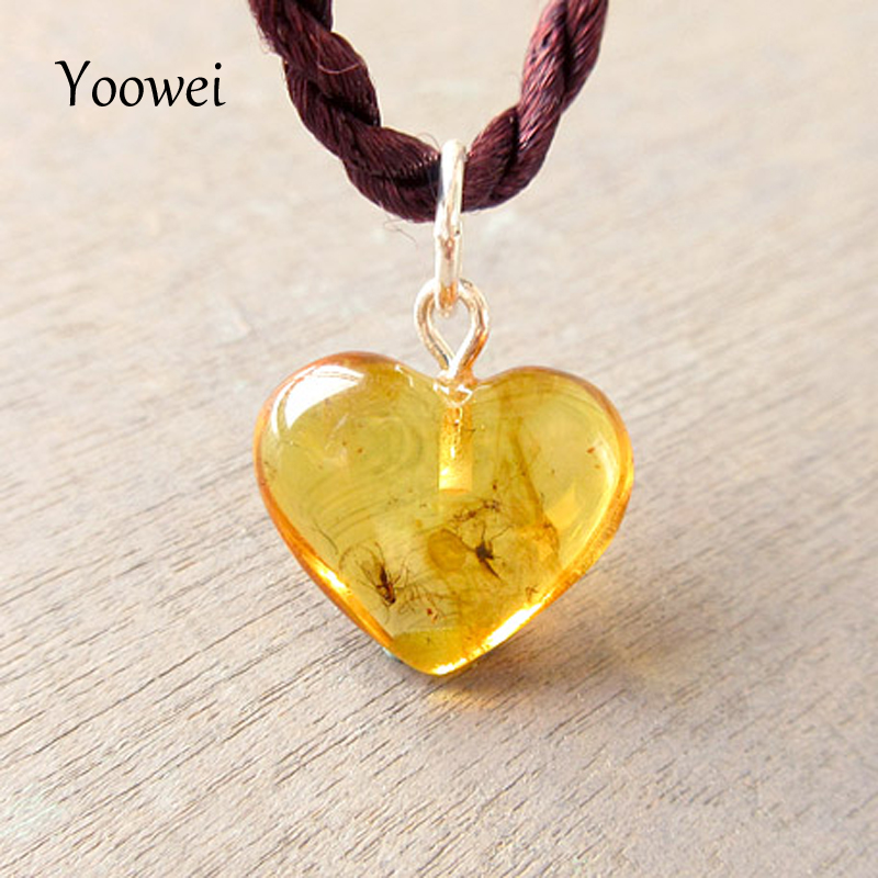 Yoowei Heart Amber Pendant for Women Clear Flying Animal Sterling Silver Drop Natural Insects Amber Pendants Necklace Wholesale вишневский я л зачем нужны мужчины