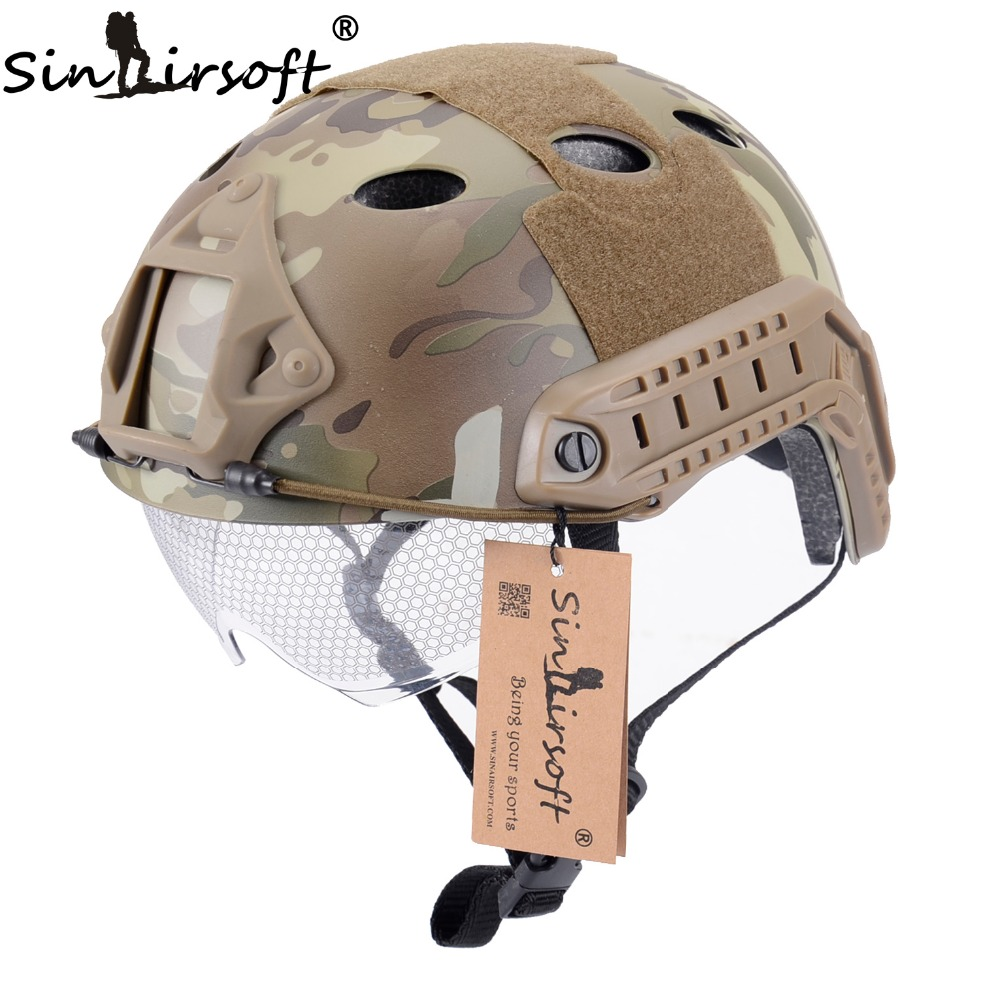 SINAIRSOFT Military Airsoft Protection FAST Helmet With Protective Goggle PJ Type Helmet Jump Tactical helmet Airsoft emerson airsoft tactical fast protective helmet pararescue jump pj type kryptek mandrake em5668i