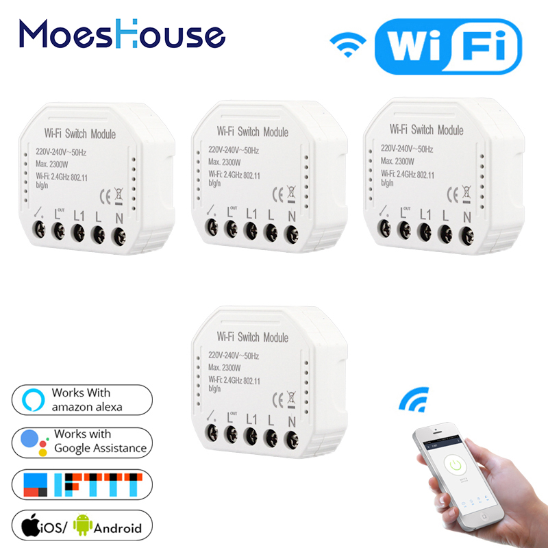 DIY WiFi Smart Light Switch Universal Breaker Timer Smart Life APP Wireless  Remote Control Works with Alexa Google Home 2 Way