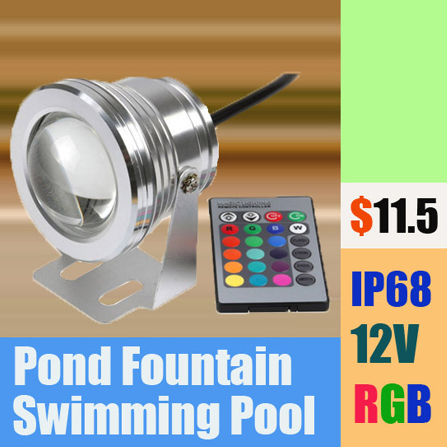 20W 12V Led RGB Underwater Spot Light Waterproof IP68 Fountain Pool Lamp 16 Colorful