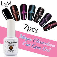 7 Pcs Magique Caméléon Chat Yeux 15 ml Soak Off Uv Nail Gel Set Polonais Magneto Gel Ongles Marques