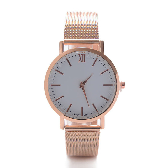Ultra-thin Quartz Alloy Stainless Steel Strap Watch for Women Golden Female Casual Dress Wristwatch Clock
