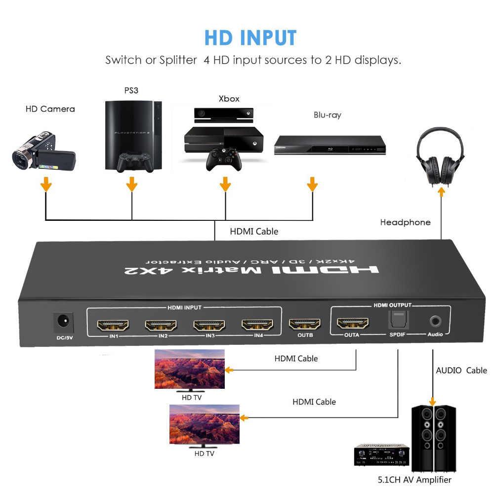 Aikexin HDMI マトリックス 4X2 スイッチスプリッタ変換アダプタリモコンでフル Hd 4 4kx2k 2 18K 3D 1080 1080P HDMI マトリックス 4 で 2 アウト