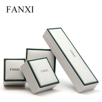 FANXI Free Shipping High Quality Leather PU Velvet Material Ring Necklace Earring Box Jewellry Package Box
