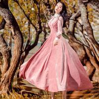 2018 new fashion brand stand collar embroidery dress female high quality velvet fabric big swing retro long sleeve dress wj1941