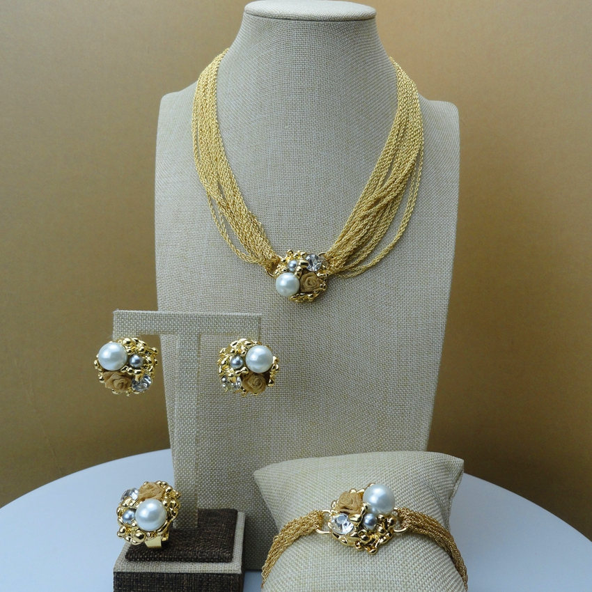 2018 Yuminglai African Bridal Jewelry Dubai Gold Jewelry Sets for Women Fancy Designer Jewelry FHK6241