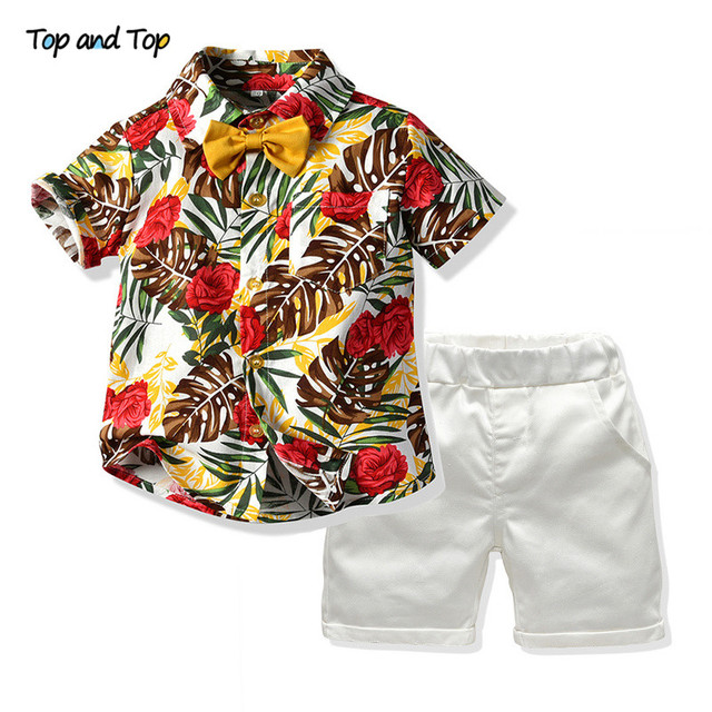 Top and Top Hawaiian Boy Summer Clothing Set 2019 Kids Short Sleeve Floral Bowtie Shirt+White Shorts 2Pcs Suit Children Clothing