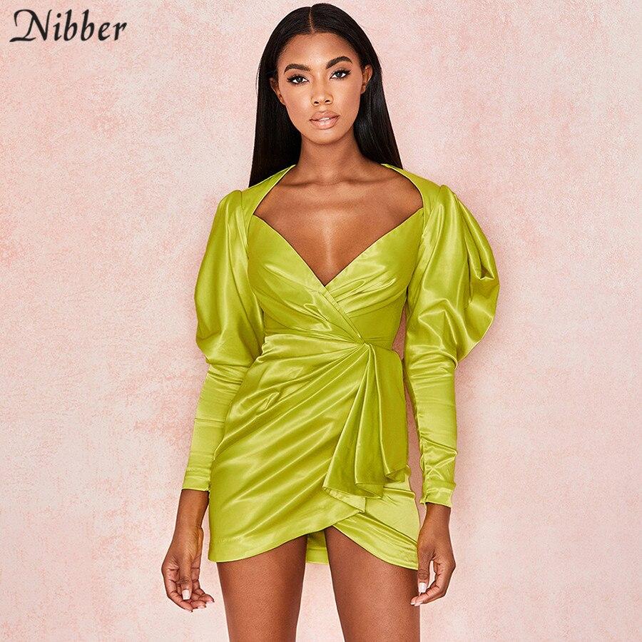 Nibber French Romantic Elegance Low Cut Bodycon Mini Dresses Women 2019summer Ladies Party Short Dress Femme Full Sleeve Dresses