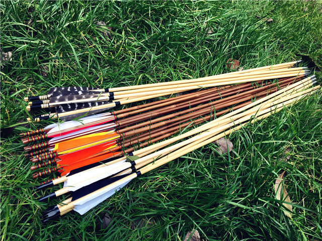 Us 1461 14 Offaliexpresscom Buy Customized Wooden Arrows Bamboo Arrows 6pk12pcs24pcs Length Can Cut 26inch 33inch Color Can Choose As You