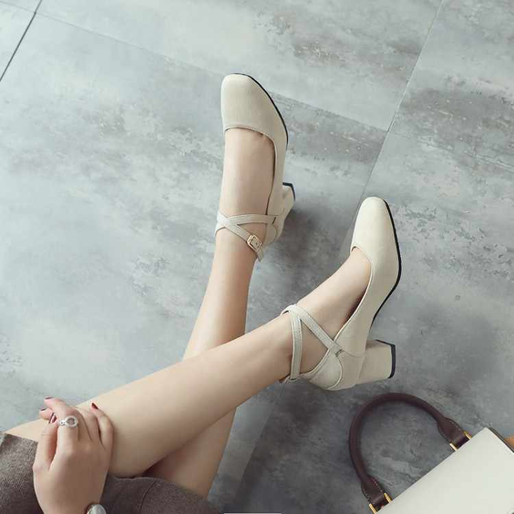 Große Größe Damen high heels frauen schuhe frau pumpen One-wort schnalle Grobe absätzen sondern schuhe